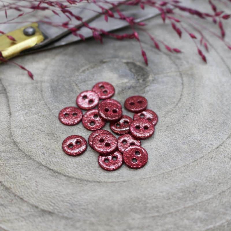 Glitter Buttons - Amarante