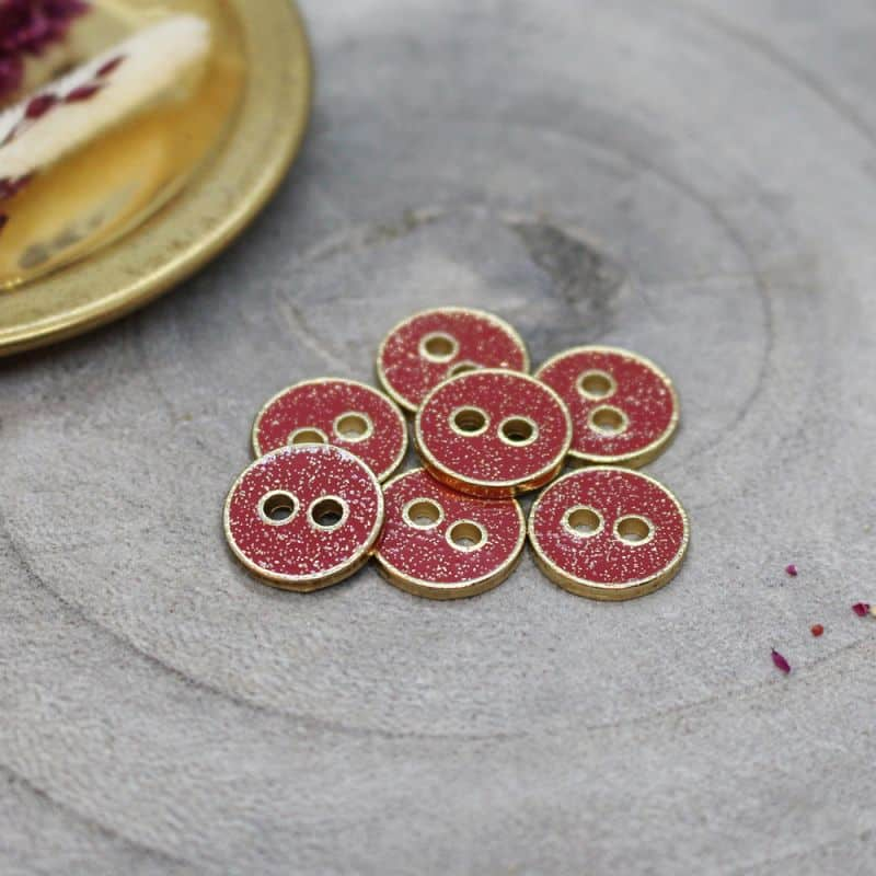 Joy Glitter Buttons - Terracotta
