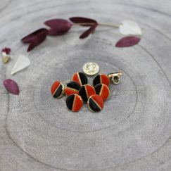 Wink Buttons Black - Tangerine