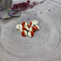 Wink Buttons Off-White - Tangerine