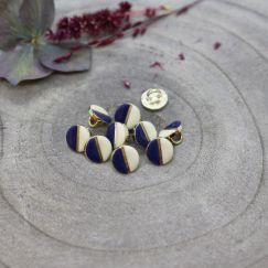 Wink Buttons Off-White - Cobalt